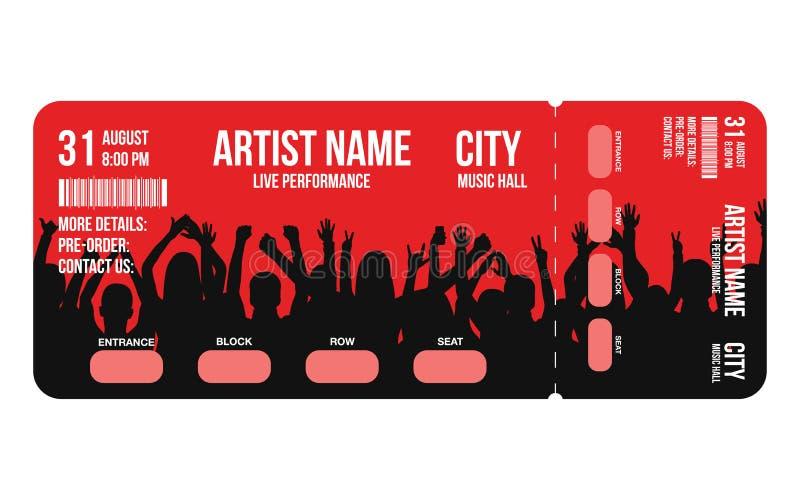 Calibre de billet de concert Le calibre de conception de billet de concert, de partie ou de festival avec des personnes se serren illustration stock