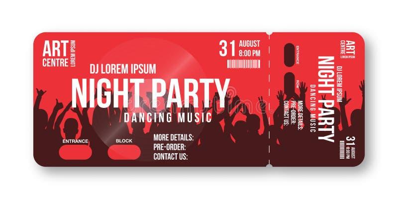 Calibre de billet de concert Concert, partie, disco ou calibre de conception de billet de festival avec la foule de personnes sur illustration libre de droits