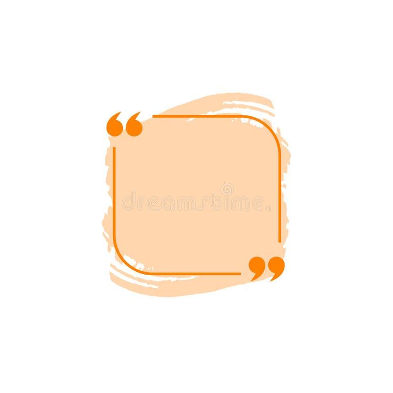 Calibre de blanc de boîte de citation de vecteur, couleur orange, élément coloré d'isolement de conception illustration libre de droits