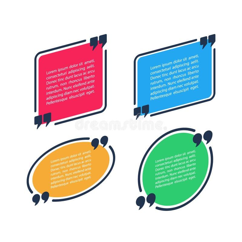 Calibre de blanc de bulle de la parole de citation Texte entre parenthèses, cadre vide de citation Boîte de citation de couleur d illustration stock