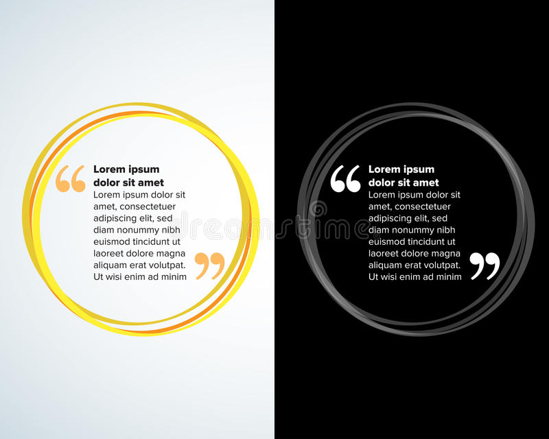 Calibre de blanc de citation de couleur Bulle de citation Calibre vide Entourez le calibre de carte de visite professionnelle de  illustration stock
