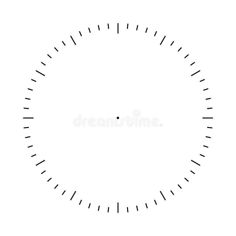 Calibre de blanc de visage d'horloge Marques de division d'heures et de secondes illustration stock