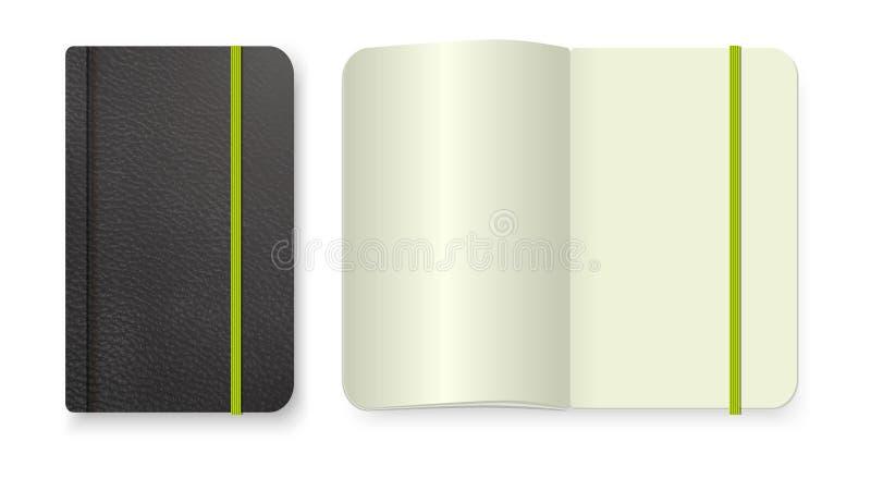 Calibre de bloc-notes de vue supérieure Dirigez la magazine vide réaliste ou le livre a écarté sur le fond blanc illustration de vecteur
