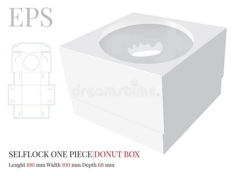Calibre de boîte à beignet, vecteur avec les lignes découpé/de laser avec des matrices coupe Bo?te, coupe et pli de serrure d'ind illustration de vecteur