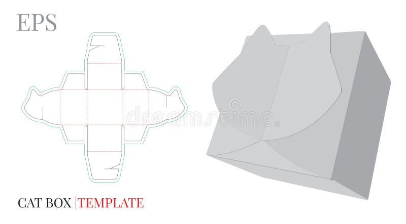 Calibre de boîte-cadeau, vecteur avec les lignes découpé/de laser avec des matrices coupe Boîte Kitty Cat à sucrerie illustration libre de droits