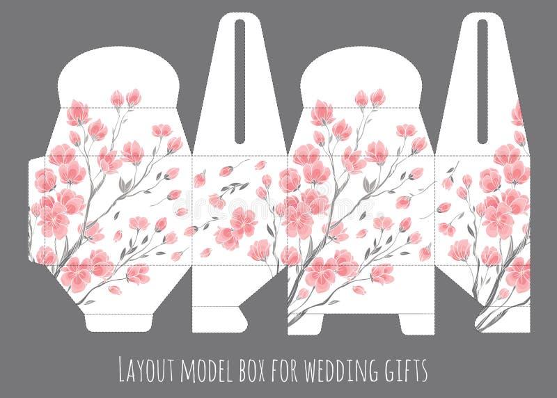 Calibre de boîte de faveur de mariage de cadeau avec le modèle de nature illustration stock