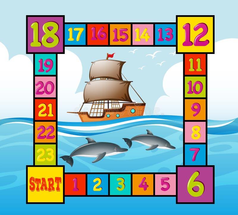 Calibre de Boardgame avec la scène d'océan illustration libre de droits