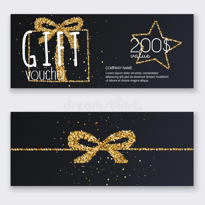 Calibre de bon avec le boîte-cadeau d'or, certificat DES de fond illustration de vecteur