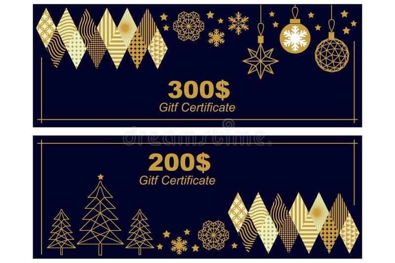 Calibre de bon de cadeau Ornements d'or sur le fond noir illustration de vecteur