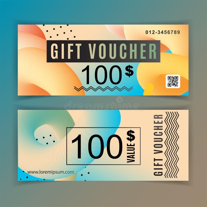 Calibre de bon de cadeau de vecteur Éléments bleus oranges de conception d'insecte universel Valeur de bon de cadeau 100 dollars  illustration libre de droits