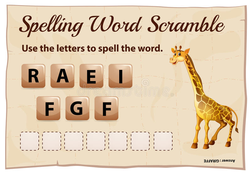 Calibre de bousculade de mot d'orthographe avec la girafe de mot illustration stock