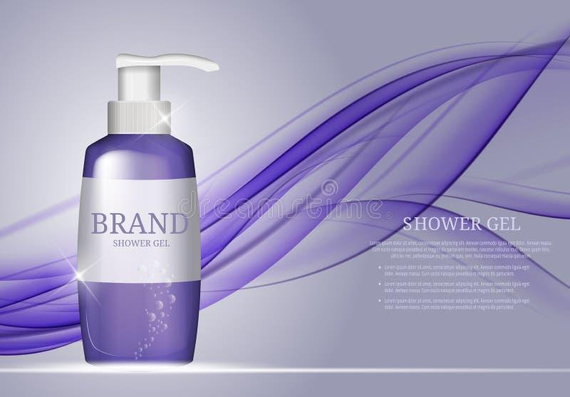 Calibre de bouteille de gel de douche pour les annonces ou le fond de magazine illustration de vecteur