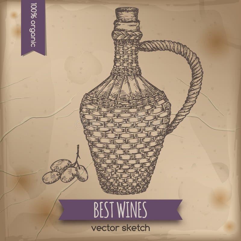 Calibre de bouteille de vin de vintage illustration libre de droits