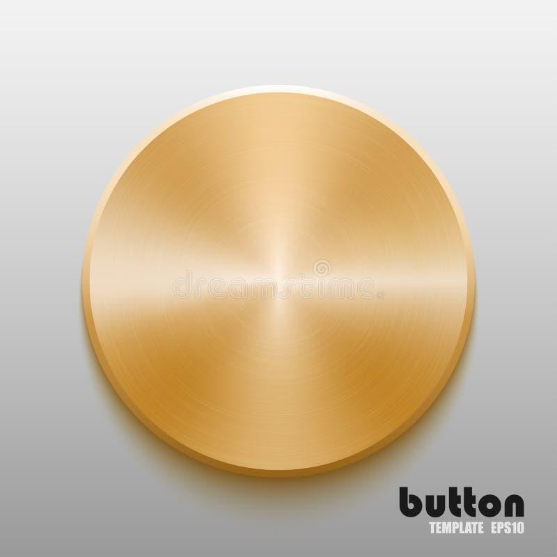 Calibre de bouton rond avec la texture en métal d'or illustration de vecteur