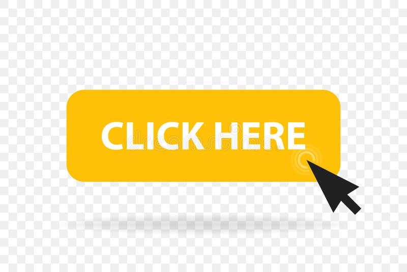 Calibre de bouton de Web de clic La barre jaune de vecteur, souris d'ordinateur cliquent sur ici le curseur illustration libre de droits