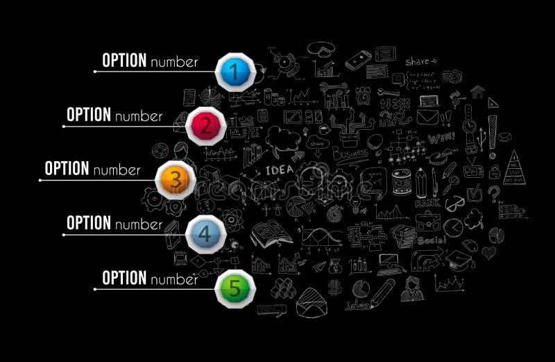 Calibre de brochure d'Infograph avec beaucoup de choix et beaucoup d'éléments infographic de conception illustration de vecteur
