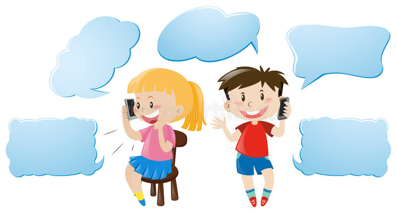 Calibre de bulle de la parole avec des enfants parlant au téléphone illustration libre de droits