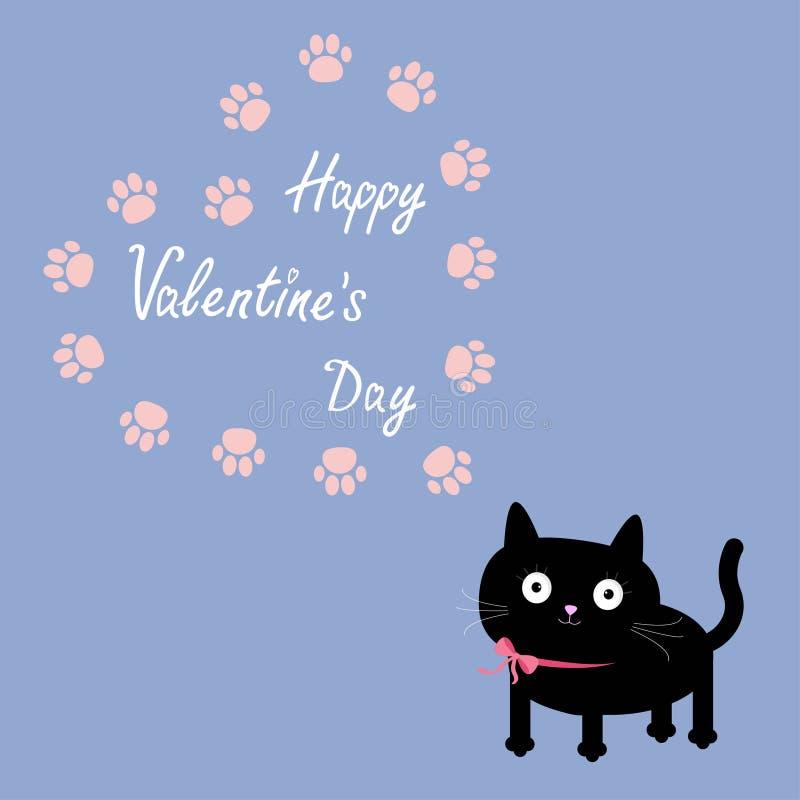 Calibre de cadre de coeur d'impression de chat et de patte Conception plate Fond heureux de couleur de sérénité de quartz de Rose illustration de vecteur