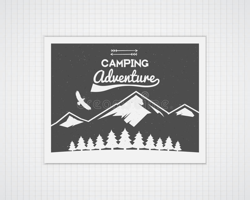 Calibre de cadre de vecteur de camping avec l'affiche de voyage illustration stock