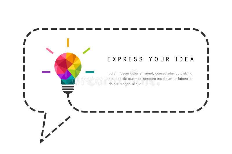Calibre de cadre des textes avec l'ampoule en tant que concept créatif d'idée illustration stock