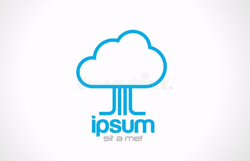 Icône de calcul de concept de nuage de logo. Données de technologie illustration stock