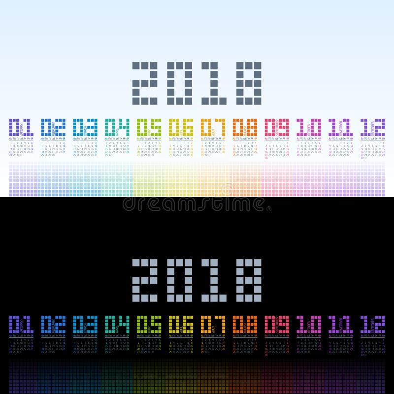 Calibre 2018 de calendrier avec le texte numérique d'arc-en-ciel Vecteur eps10 illustration stock