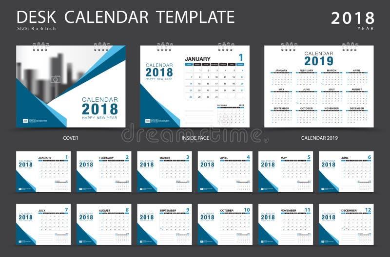 Calibre 2018 de calendrier de bureau Ensemble de 12 mois planificateur illustration de vecteur