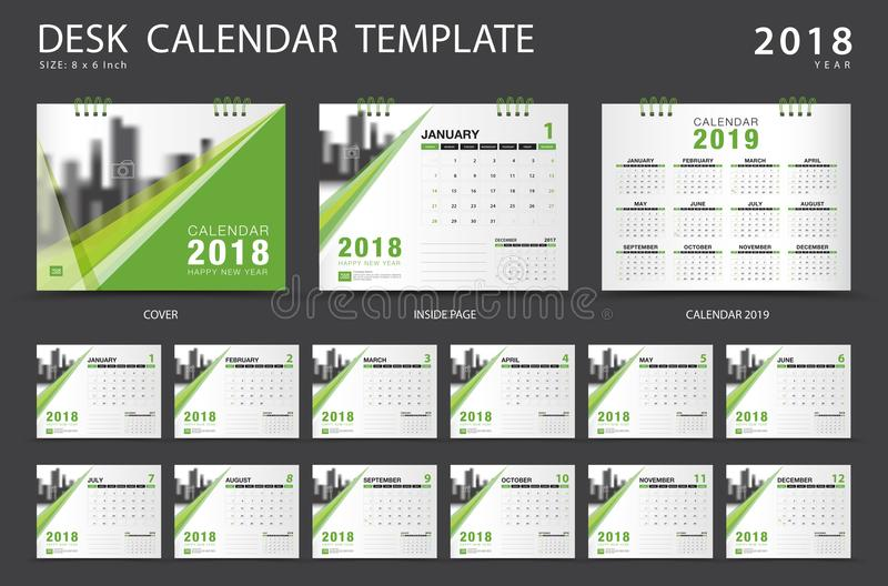 Calibre 2018 de calendrier de bureau Ensemble de 12 mois planificateur illustration libre de droits
