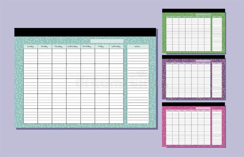 Calibre de calendrier de bureau Placez du planeur sans fin avec le modèle géométrique sept colonnes et un secteur d'enregistremen illustration libre de droits