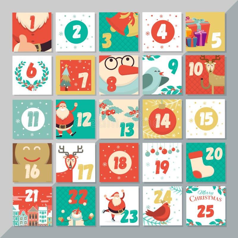 Calibre de calendrier d'avènement de Noël La de carte de voeux de Noël de vecteur illustration stock