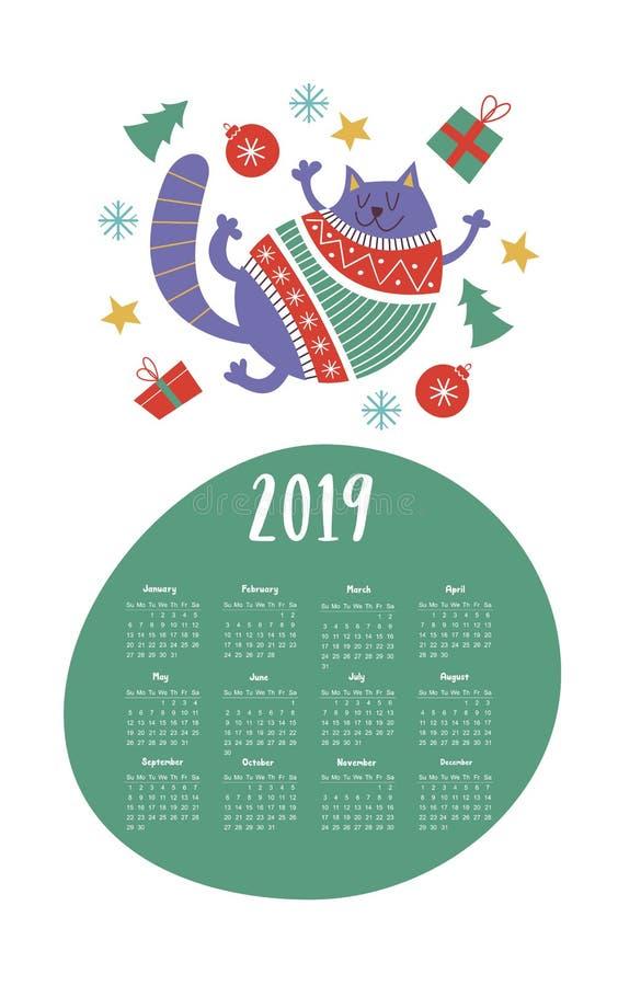 Calibre 2019 de calendrier de vecteur Gros chat mignon dans un chandail tricoté illustration libre de droits