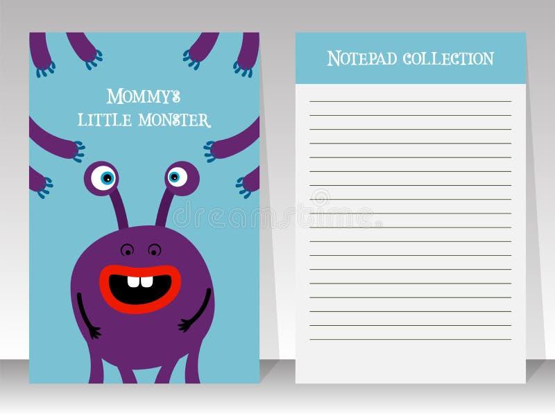 Calibre de carnet avec le monstre de bande dessinée illustration stock
