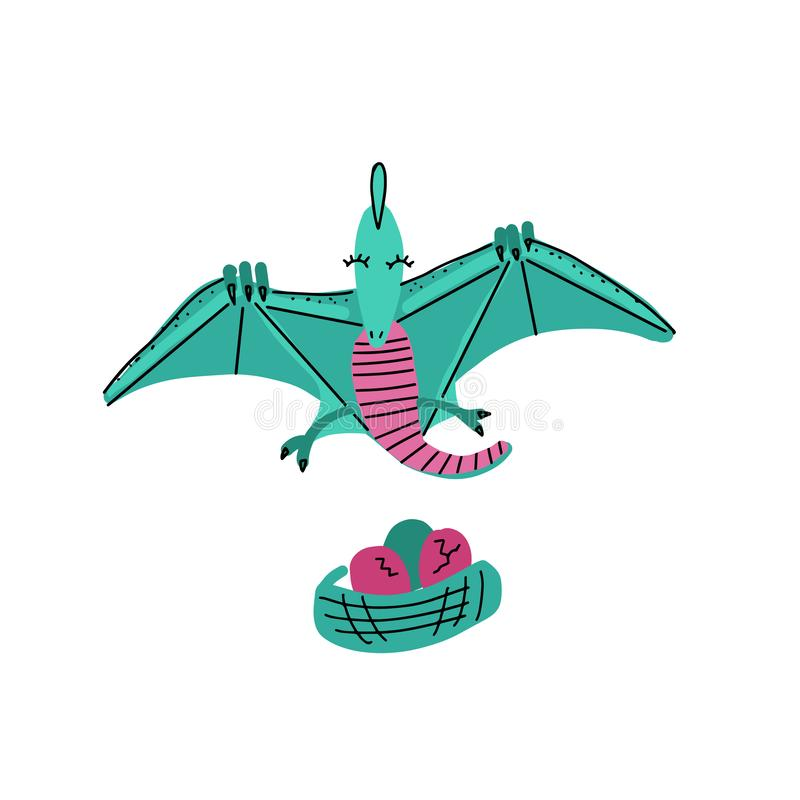 Calibre de carte avec le vol mignon de ptérodactyle de Dino au-dessus du nid avec des oeufs Graphique de vecteur scandinave tiré  illustration stock