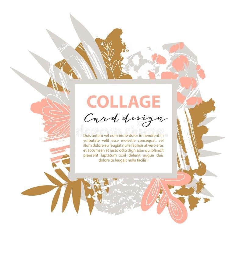 Calibre de carte de collage Dirigez le fond abstrait avec les taches chaotiques et les feuilles tropicales Illustration de vecteu illustration stock