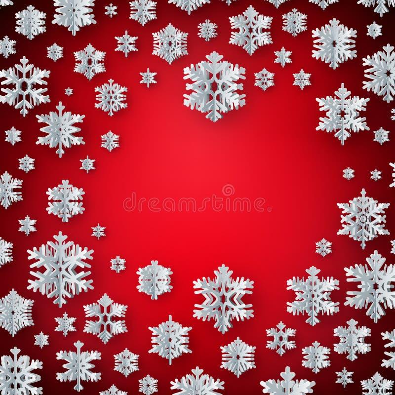 Calibre de carte de décoration de Noël fait de flocons de neige de papier avec le copyspace ENV 10 illustration de vecteur