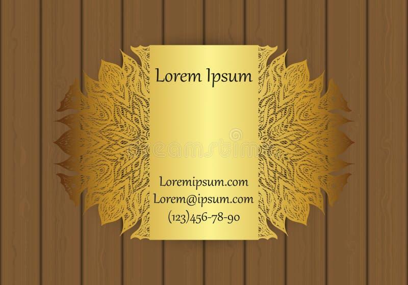 Calibre de carte d'affaires ou de visite avec un modèle coupé Peut être employé pour la coupe de laser du papier, métal, bois illustration de vecteur