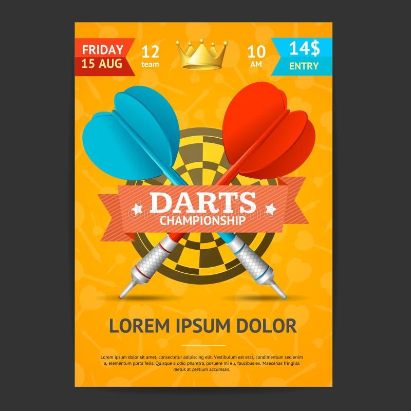 Calibre de carte d'affiche de tournoi de dards Vecteur illustration de vecteur