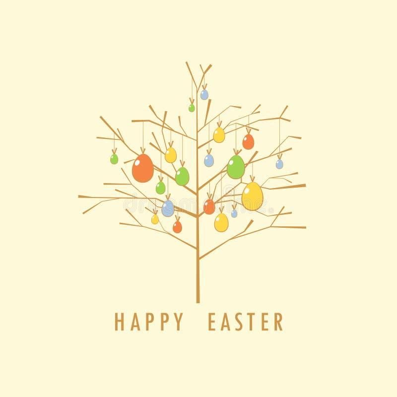 Carte d'arbre de Pâques. illustration de vecteur