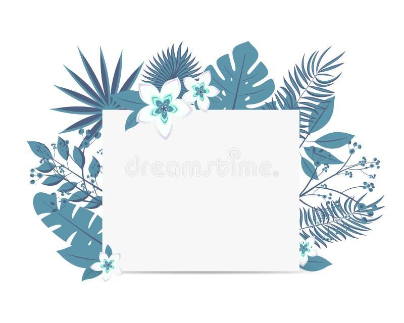 Calibre de carte d'invitation d'événement de mariage Feuilles vert clair de palmier et de monstera de forêt tropicale tropicale e illustration stock