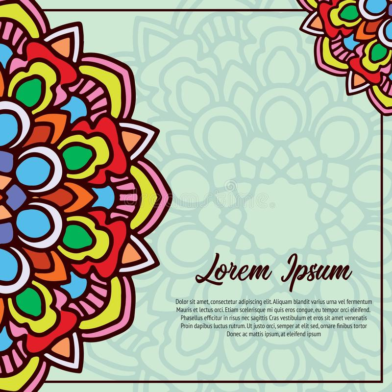 Calibre de carte d'invitation de cru avec l'ornement de mandala illustration libre de droits