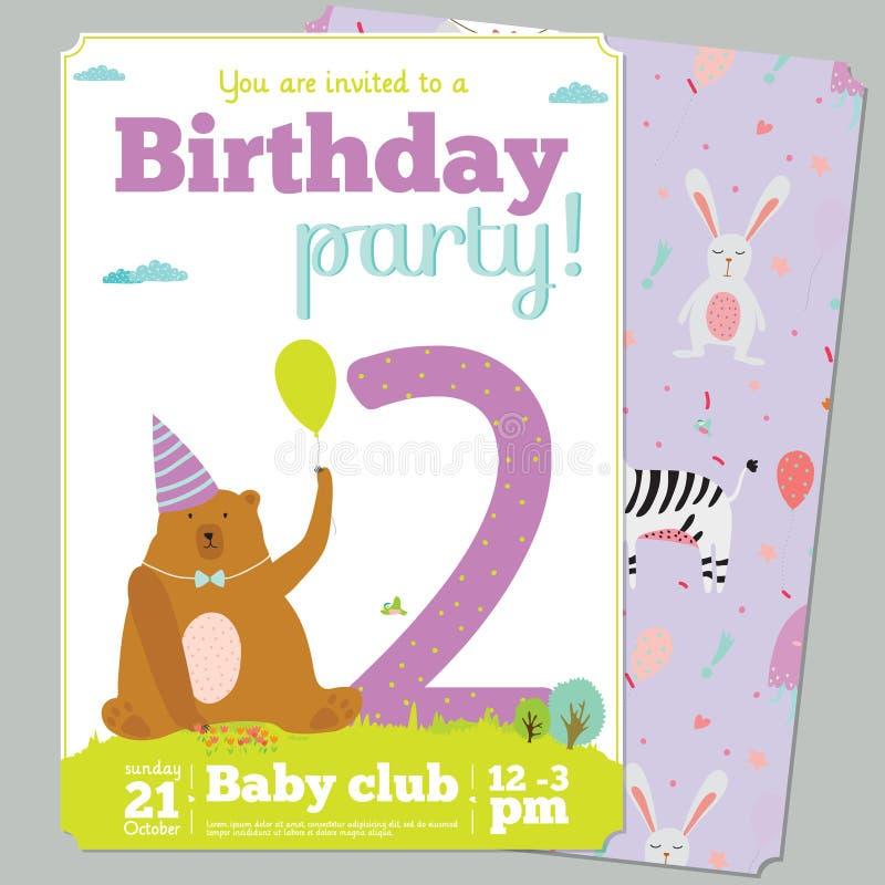 Calibre de carte d'invitation de fête d'anniversaire avec mignon illustration libre de droits