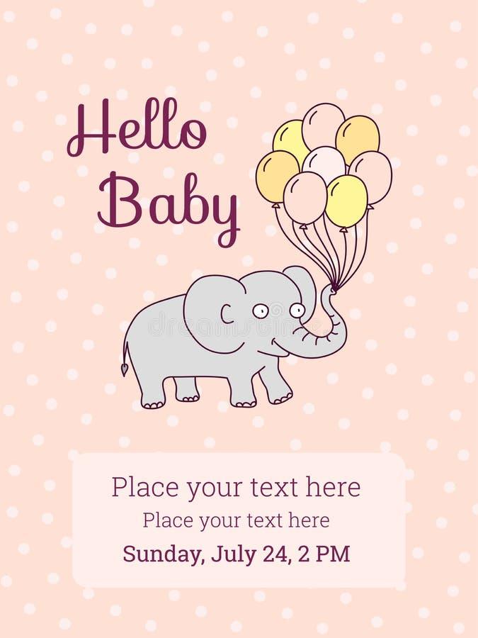 Calibre de carte d'invitation de fête de naissance, éléphant de bande dessinée illustration de vecteur