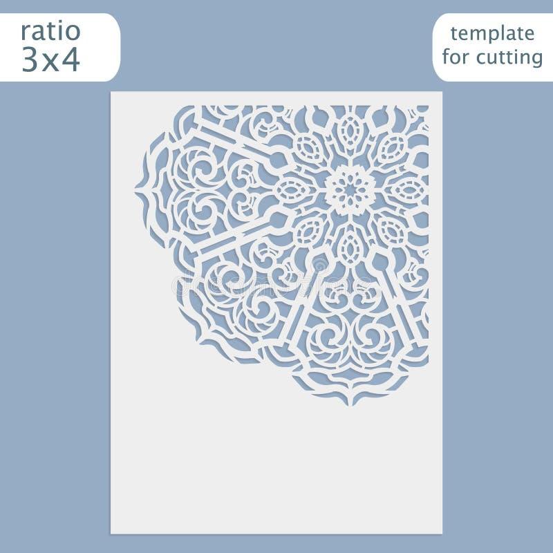 Calibre de carte d'invitation de mariage de coupe de laser Coupez la carte de papier avec le modèle de dentelle illustration stock