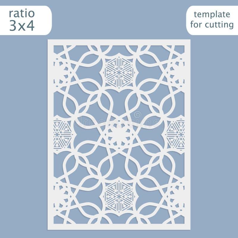 Calibre de carte d'invitation de mariage de coupe de laser Coupez la carte de papier avec le modèle de dentelle Calibre de carte  illustration stock