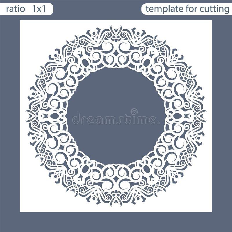 Calibre de carte d'invitation de mariage de coupe de laser Coupez la carte de papier avec le modèle de dentelle Carte de voeux Le illustration libre de droits