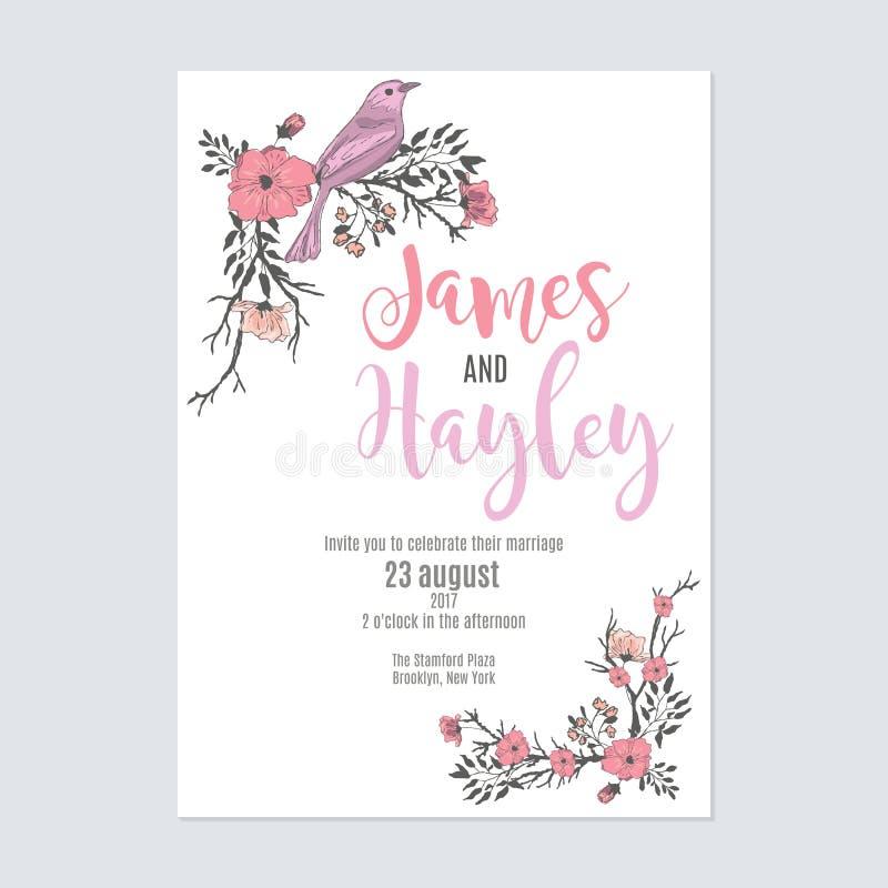 Calibre de carte d'invitation de mariage de fleur photo stock