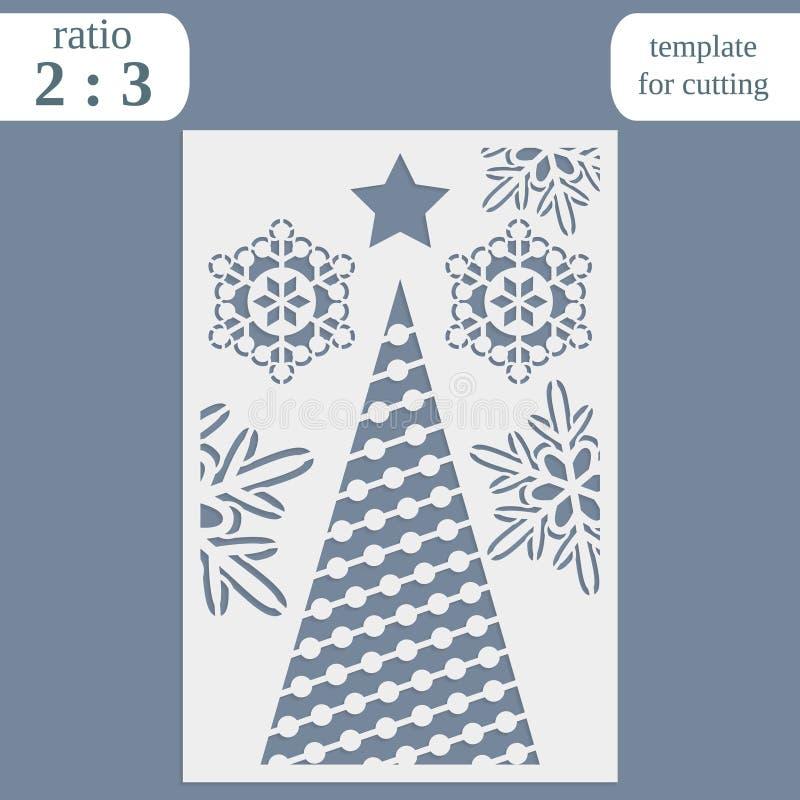 Calibre de carte d'invitation de Noël de coupe de laser Coupez la carte de papier avec le modèle de dentelle Calibre de carte de  illustration libre de droits