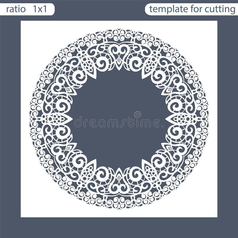 Calibre de carte d'invitation de mariage de coupe de laser Coupez la carte de papier avec le modèle des feuilles de chêne Carte d illustration stock