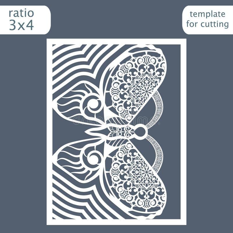 Calibre de carte d'invitation de mariage de coupe de laser Coupez une carte de papier avec un modèle de papillon Calibre de carte illustration de vecteur