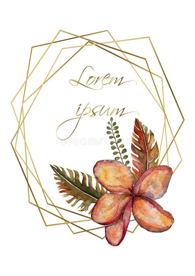 Calibre de carte d'invitation de mariage Fleurs roses de phalaenopsis d'orchidée Palmier vert clair de jungle tropicale exotique illustration de vecteur